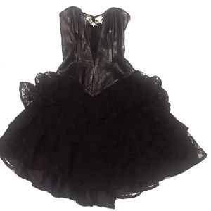 Dresses & Skirts - Black Leather and Lace Party Dress